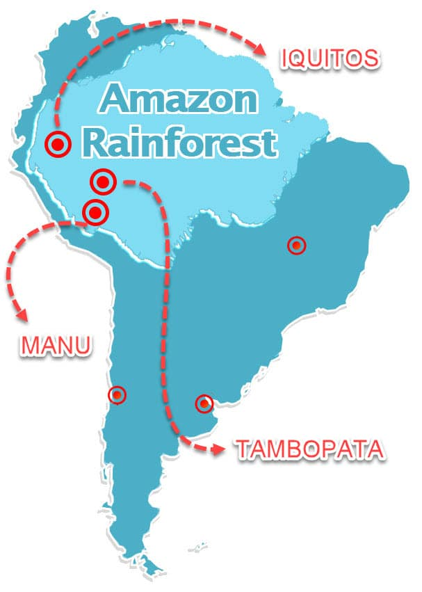 Peru amazon tours map and regions